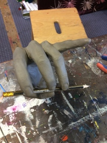 Clay hand life sculpture
